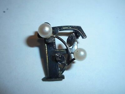 Antique Initial F Pin Brooch Cultured Akoya Sea Pearls Sterling Silver unusual
