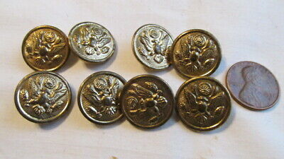 """8 Matching Metal Eagle Brass Colored Shank Buttons 3/4"""" across B81"""