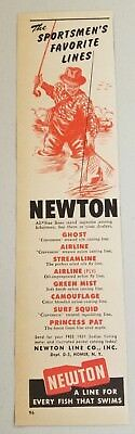1951 Print Ad Newton Fishing Lines Made in Homer,NY