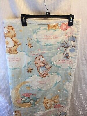 Vintage CARE BEARS Baby QUILT Blanket Crib BEDDING 37x45 Funshine