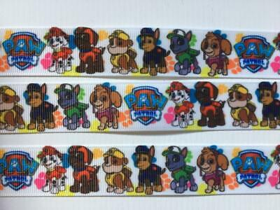 "BB Ribbon PAW PATROL CHARACTERS ON WHITE 2m grosgrain 7/8"" 22mm dog puppy"
