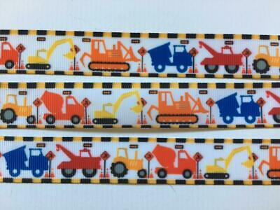 "BB Ribbon CONSTRUCTION TRUCKS with check edge 2m grosgrain 7/8"" 22mm transport"