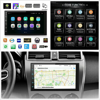 """7"""" HD 2Din Android 8.1 Touch Screen Quad-Core GPS Wifi 3G 4G BT DAB Mirror Link"""