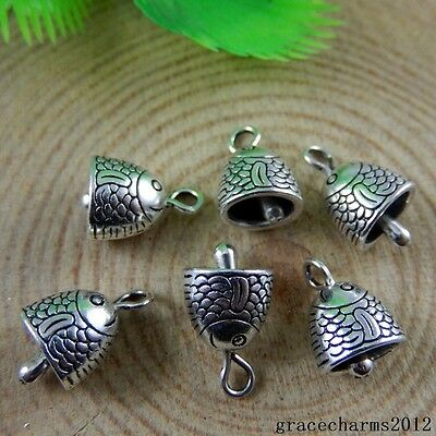 70 pcs Vintage Silver Alloy Cute Fish Charms Pendant Crafts 12x10mm 32930