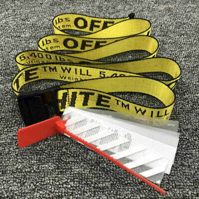 Off White Tie Down Yellow Nylon Cotton Big IRON Head Industrial Belt 200CM AU