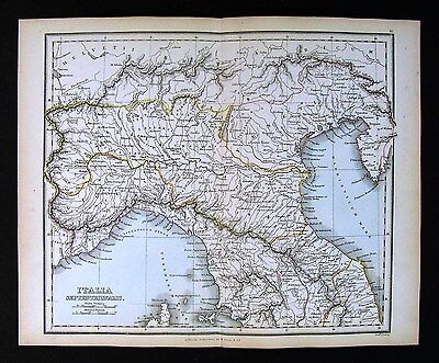 1857 Findlay Map - Italia Septentrionalis - Ancient Italy Etruria Venenti Venice