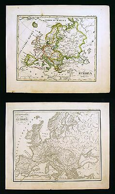 1832 Stieler - 2 Maps - Europe Political & Physical - Sweden Italy Spain France