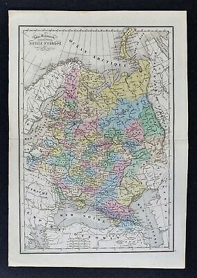 1858 Delamarche Map - Russia in Europe - Moscow St. Petersburg Poland Finland
