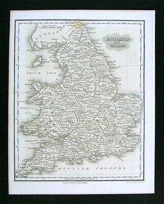 1847 Malte-Brun Map - England Wales - London Liverpool Cardiff Great Britain UK