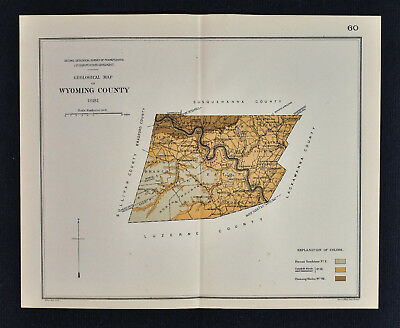 1881 Geological Map - Wyoming County Pennsylvania - by Lesley Geology Survey PA
