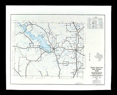Texas Map - Coke County - Robert Lee Bronte Spence Reservoir Oak Creek Tennyson