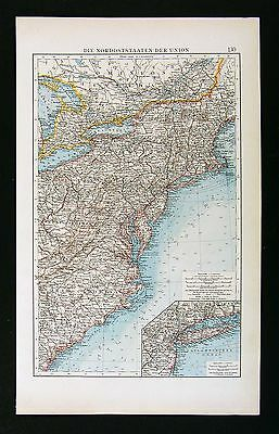1896 Andrees Map  United States - New England York Long Island Virginia Carolina