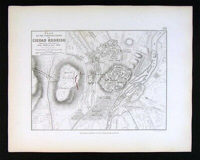 1855 Johnston Military Map  Napoleon - Ciudad Rodrigo Plan Fort  Salamanca Spain