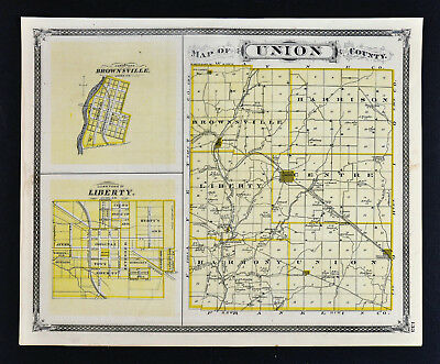 1876 Indiana Map - Union & Franklin County Liberty Brookville Brownsville Laurel