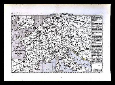 1849 Houze Map - Empire of Charlemagne 768-814 - France Germany Italy - Europe