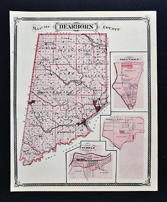 1876 Indiana Map - Dearborn County - Lawrenceburgh Aurora - Brookville Rushville