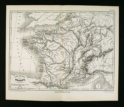 1872 Vuillemin Map Physical France Mountains Rivers