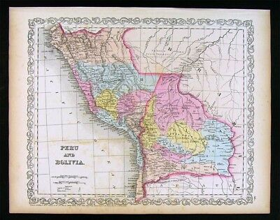 1857 Desilver Map Peru Bolivia Cuzco Lima La Plata Brazil Amazon - South America