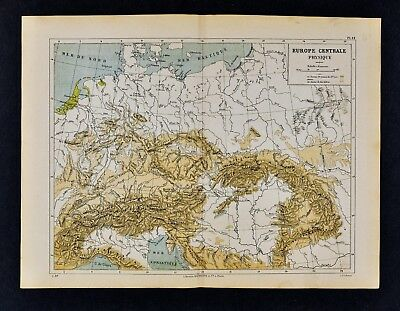 1885 Cortambert Map - Physical Central Europe - Germany Austria Switzerland Alps