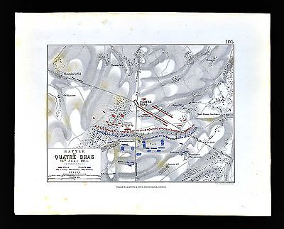 1855 Johnston Military Map - Napoleon  Battle of Quatre Bras 1815  Belgium