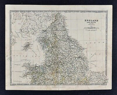1883 Johnston Map - North England & Wales Liverpool York Lincoln Isle of Man UK