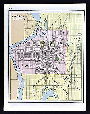 1891 Watson Atlas Map - Council Bluffs Iowa - Manawa Park Fairmont Railroads