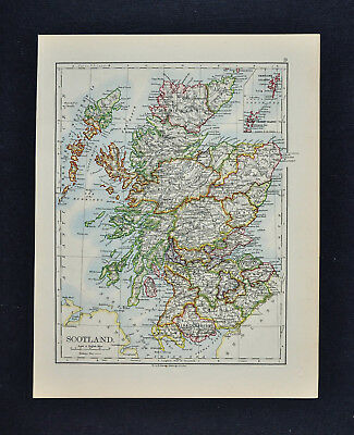 1895 Johnston Map - Scotland & Environs of Edinburgh Glasgow Dublin Belfast UK