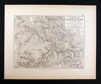 1855 Johnston Military Map - Napoleon - Battle of Auerstadt 1806 - Germany War