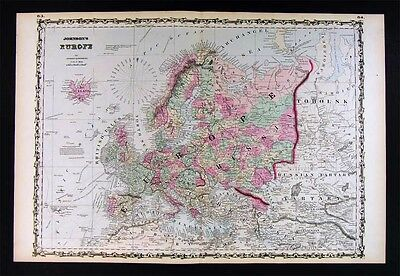 1862 Johnson Map - Europe - Italy France Germany Austria Spain Russia Britain