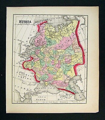 1857 Morse Map - Russia in Europe - Poland Latvia Finland Moscow St. Petersburg