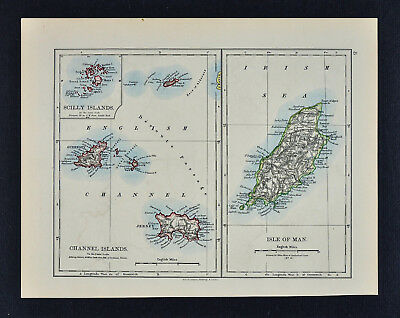 1895 Johnston Map Isle of Man Channel Islands Jersey Guernsey Scilly England UK