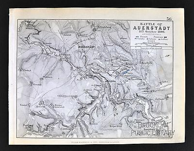 1850 Johnston Military Map - Napoleon - Battle of Auerstadt 1806 - Germany War