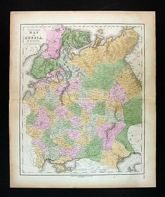 1859 Gall Inglis Map Russia in Europe - Finland Estonia Latvia Moscow Petersburg