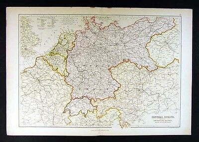 1882 Blackie Atlas Map - Central Europe - Germany Holland France Austria Prussia