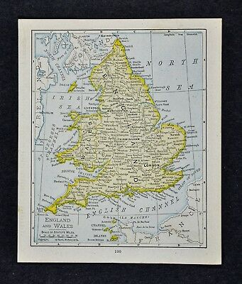 1917 McNally Map - England Wales London Liverpool Manchester Bristol Cardiff UK