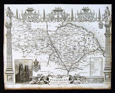 c. 1850 Thomas Moule Map - Yorkshire North Riding York Minster - England UK