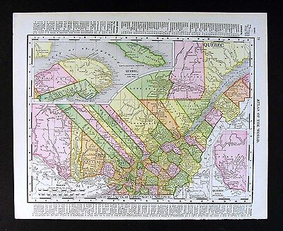 1907 Rand McNally Map - Quebec Montreal St. Johns Joilette Lawrence River Canada