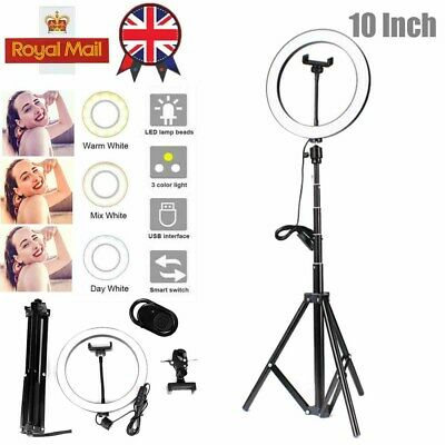 "6-in-1 Studio Photo Video Kit 12"" LED Dimmable Ring Light +Tripod+Camera iPhone"