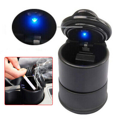 Car Ashtray Ash Blue LED Light Smokeless Stand Cylinder for Car Cup Holder