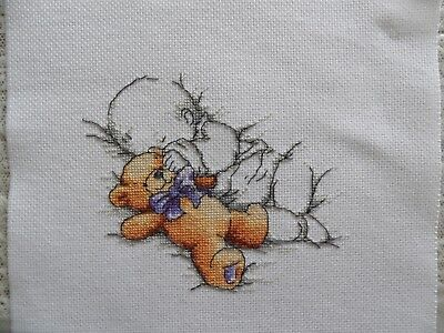 Personalised Completed Cross Stitch  New Baby Birth Sampler record Baby and Bear