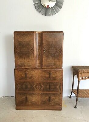 Stunning Art Deco 1930S Figured Walnut Chest Of Drawers / Cabinet