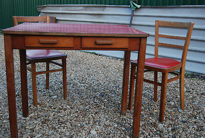 Vintage Retro 1950s Formica Pine Kitchen Table Desk with Drawers Will Post!