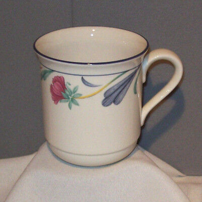 Lenox Chinastone POPPIES ON BLUE Porcelain Ceramic 10 fl oz Cup Mug made in USA