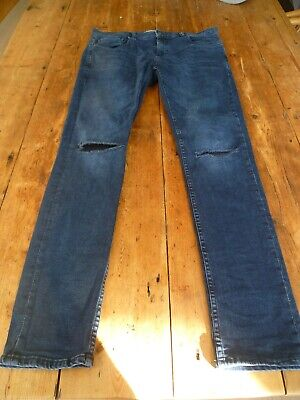 Fabulous NEXT Super Stretchy Dark Blue Knee Splits Tears Skinny JEANS, 32 R