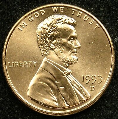 1993 D Uncirculated Lincoln Memorial Cent Penny BU (B02)