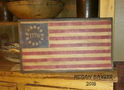 Primitive Wooden Sign ~ 1776 American Flag ~ Awesome