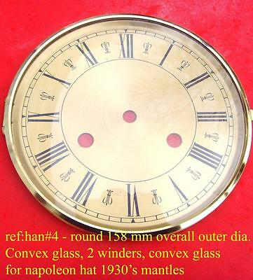 27/2 han#4 Circular brass  mantle  clock dial 2 winding holes 158mm od