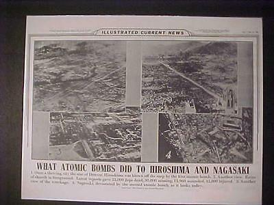 Vintage Newspaper Headline~World War Hiroshima Nagasaki Japan Atomic Bombed Wwii