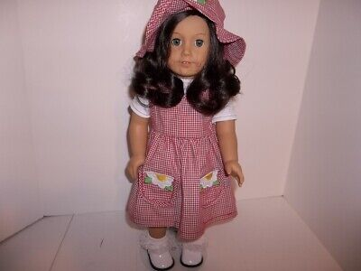 """Red Gingham Jumper, Shirt and Hat made for 18"""" American Girl Doll Clothes New"""