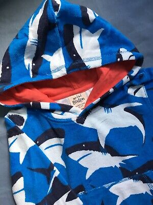 NEW Mini Boden Beach Cover Up Towelling Hoody - Blue Shark - Age 1.5 to 2